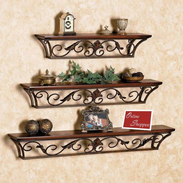Onlineshoppee Hermosa Floating Wooden, Iron Wall Shelf