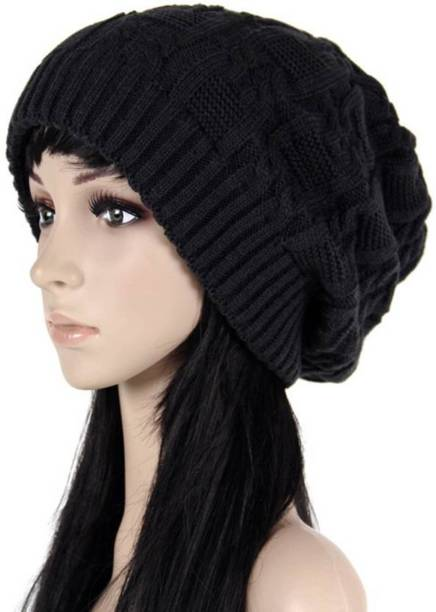 cc00cae1077 Babji Black Slouchy woolen Long Beanie Cap for Winter skull head Unisex Cap