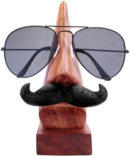 WoodCart 1 Compartments Wooden H@ndmade Nose Shape Specs Holder With Black Mustache Rosewood Specs Holder