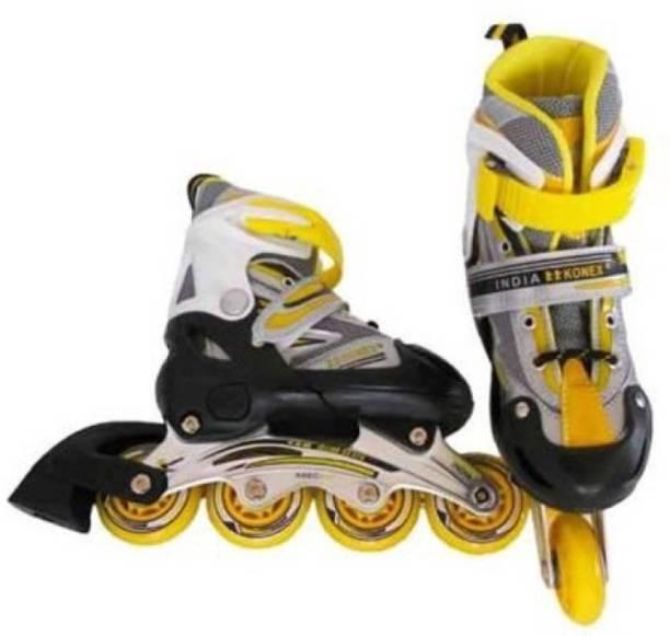 Konex Adjustable Shoes Inline Skates (Small) Yellow In-line Skates - Size 4.5-7.5 UK