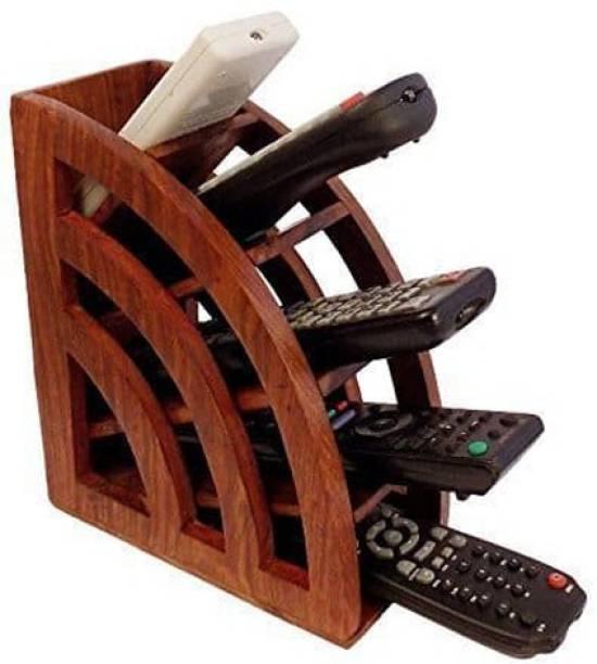 WoodCart 5 Compartments H@ndmade Wooden Remote Control Storage Holder Stand Organizer Rack Plain Remote Holder