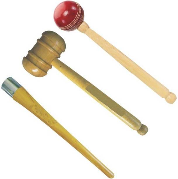 GLS Cricket Bat Knocking 2 Wooden Hammer Mallet & 1 Grip Cone Wood Bat Mallet