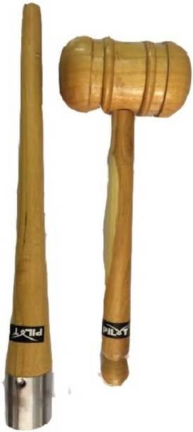 GLS Cricket Bat Knocking Wooden Hammer Mallet & Grip Cone Wood Bat Mallet