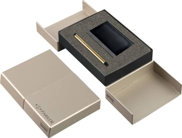 PARKER Vector Gold Roller ball pen + Card Holder Pen Gift Set