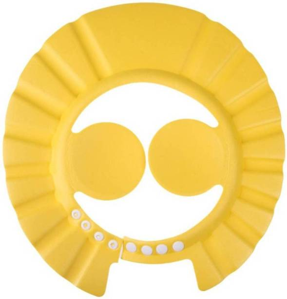 Simplex Adjustable Baby Kids Shampoo Bath Bathing Safe Soft Shower Button Closure Cap Hat Hair Shield (Yellow)