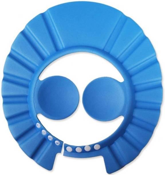 Simplex Adjustable Baby Kids Shampoo Bath Bathing Safe Soft Shower Button Closure Cap Hat Hair Shield (Blue)