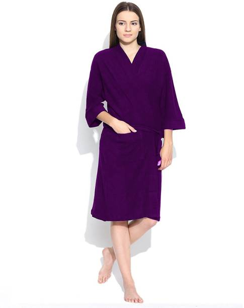 ELEVANTO Purple1 Free Size Bath Robe