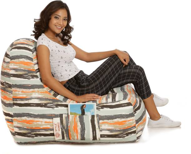 STYLE HOMEZ XXL Hackey Cotton Canvas Abstract Printed Lounger Bean Bag  With Bean Filling