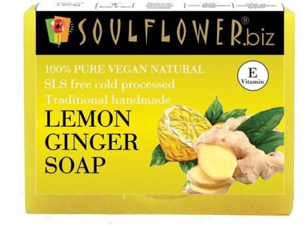 Soulflower Lemon Ginger soap 150g, 100% Premium & Pure, Natural & Undiluted, For Cleanse Pores, Fights Wrinkles And Fine Lines, Fades Scars And Marks, Luxury, Premium Handmade Soap