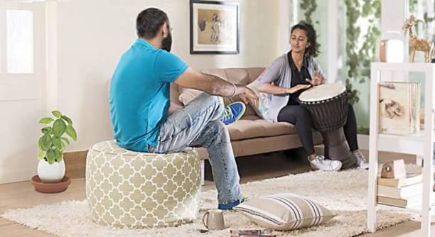 STYLE HOMEZ XL Premium Collection Round Canvas Moroccan Lattice Ottoman Bean Bag Footstool  With Bean Filling