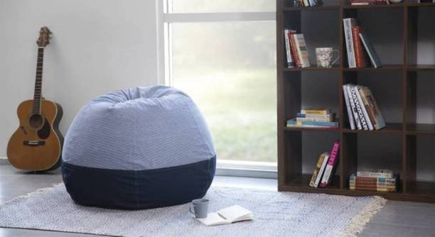 STYLE HOMEZ XXXL Premium Collection Classic Canvas Stripes Denim Teardrop Bean Bag  With Bean Filling