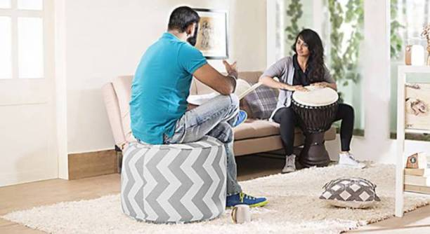 STYLE HOMEZ XL Premium Collection Round Canvas Chevron Ottoman Bean Bag Footstool  With Bean Filling