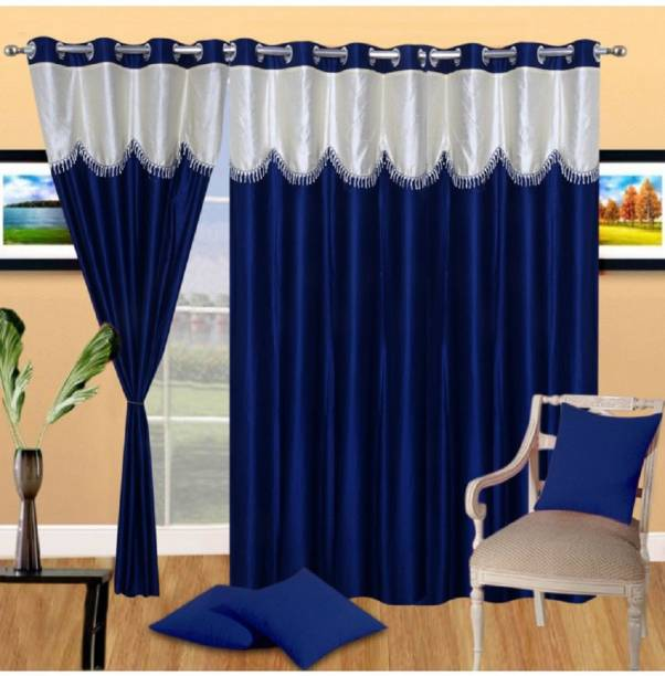 Panipat Textile Hub 152 cm (5 ft) Polyester Window Curtain (Pack Of 3)