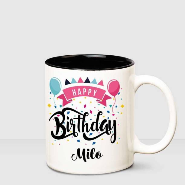 HUPPME Happy Birthday Milo Inner Black printed personalized coffee mug Ceramic Coffee Mug