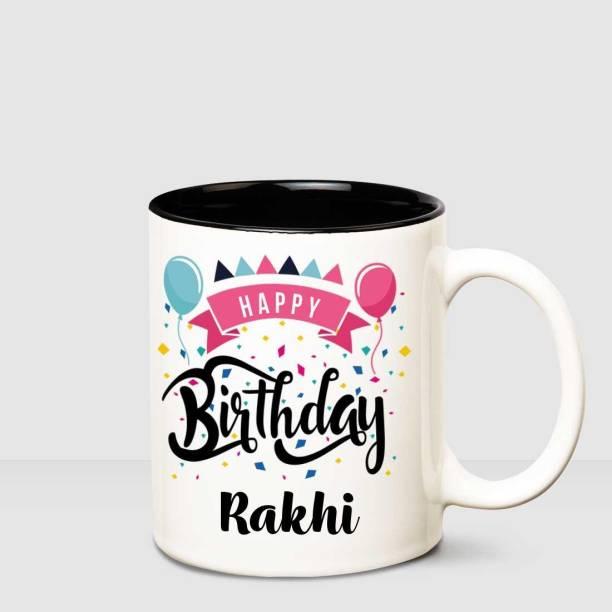 HUPPME Happy Birthday Rakhi Inner Black printed personalized coffee mug Ceramic Coffee Mug