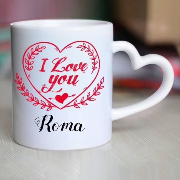 HUPPME I Love You Roma Heart Handle Ceramic Coffee Mug