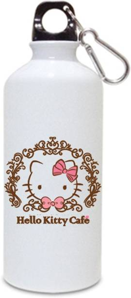 12d59c4080 Juvixbuy Hello Kity Cafe Printed Sports White Sipper / Water Bottle (  Aluminium ) 750ml 750
