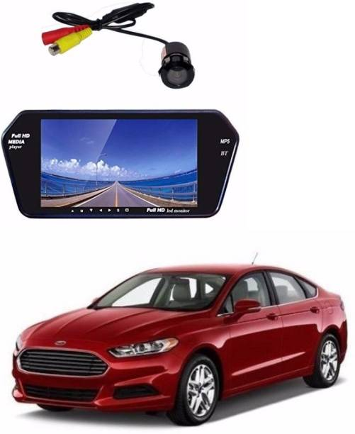 Auto Garh M31 Rear View Mirror 7 Inch Monitor With Bluetooth & Camera For Fusion Black LED