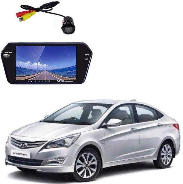 Auto Garh M101 Rear View Mirror 7 Inch Monitor With Bluetooth & Camera For Verna Black LED