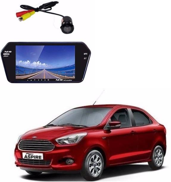 Auto Garh M27 Rear View Mirror 7 Inch Monitor With Bluetooth & Camera For Aspire Black LED
