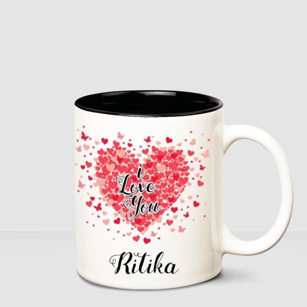 HUPPME I love you Ritika Inner Black romantic coffee name mug Ceramic Coffee Mug