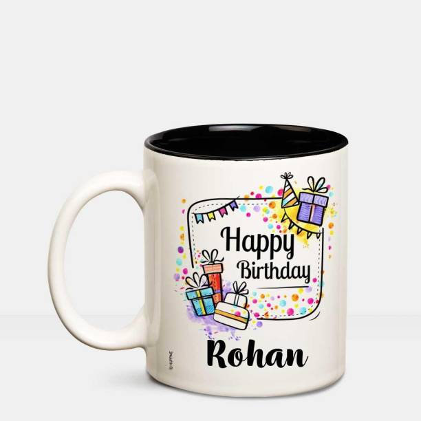HUPPME Happy Birthday Rohan Inner Black coffee name mug Ceramic Coffee Mug