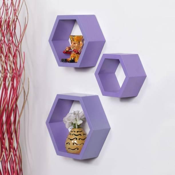 Credenza Hexagon Wooden Wall Shelf