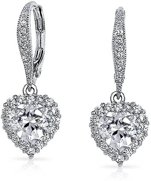 dc220a46f Bling Jewelry CZ Crown Heart Pave Bridal Leverback Earrings Rhodium Plated  Brass Cubic Zirconia Brass Drop