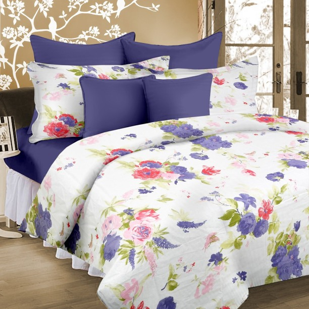 Cortina 104 TC Cotton Double Floral Bedsheet
