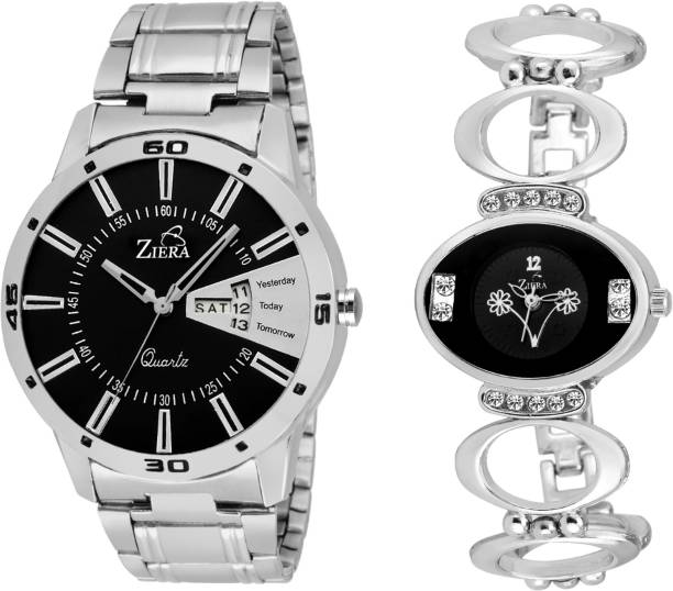 be860a1c328 Ziera ZR7041-8001 Silver Couple combo Men and women Watch - For Couple