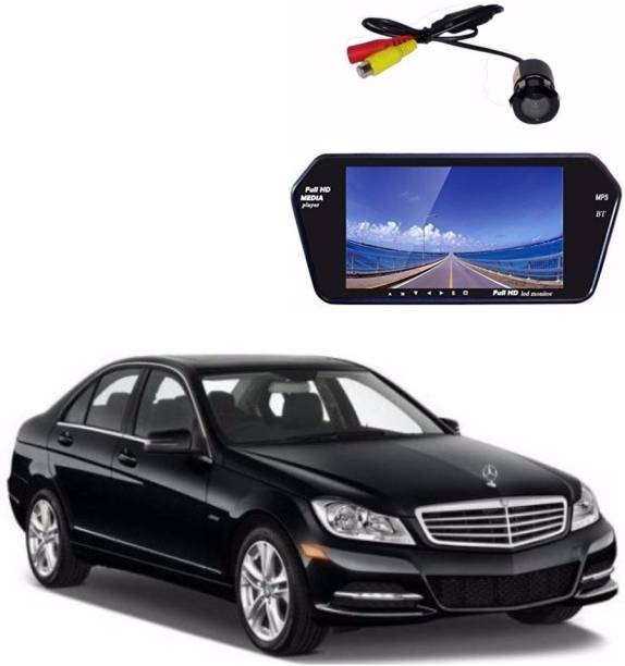 Auto Garh M66 Rear View Mirror 7 Inch Monitor With Bluetooth & Camera For S-Class Black LED