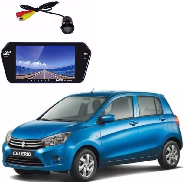 Auto Garh M13 Rear View Mirror 7 Inch Monitor With Bluetooth & Camera For Celerio Black LED