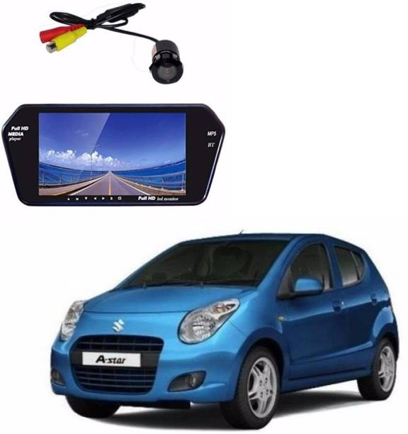 Auto Garh M58 Rear View Mirror 7 Inch Monitor With Bluetooth & Camera For A-Star Black LED