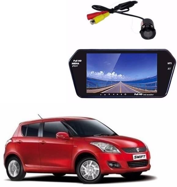 Auto Garh M85 Rear View Mirror 7 Inch Monitor With Bluetooth & Camera For Swift Black LED