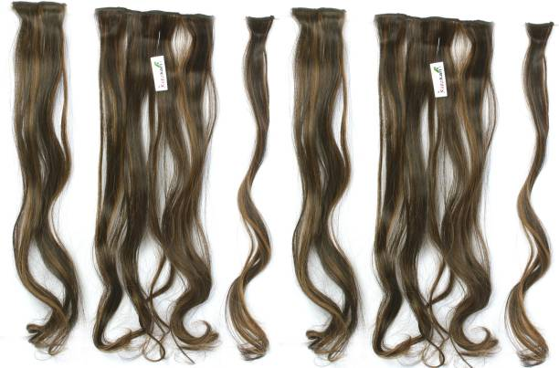 Ritzkart 6pc Multi Curly Golden Black Extension Silky & Natural Feeling Hair Extension