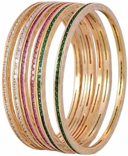 Ratnavali Jewels Brass Cubic Zirconia Gold-plated Bangle Set