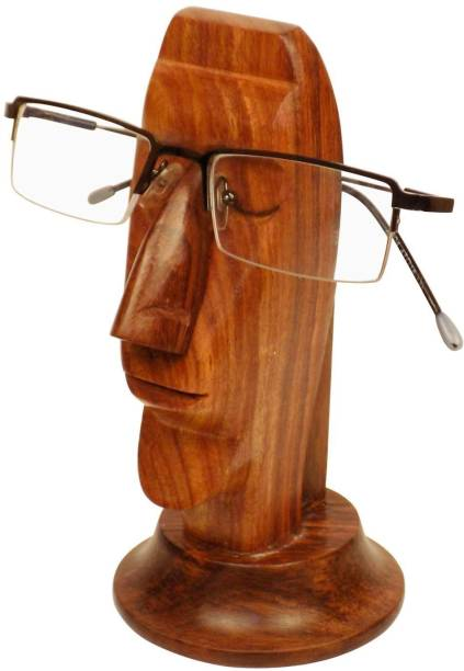 WoodCart 1 Compartments Wooden H@ndmade Human Face Shaped Specs Holder Specs Holder