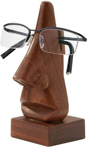 WoodCart 1 Compartments Wooden H@ndmade Spectacle Specs Eyeglass Holder Stand display stand Nose Shaped 6 Inch Long Specs Holder