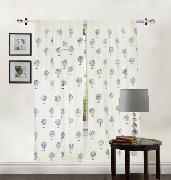 LINENWALAS 152.4 cm (5 ft) Cotton Window Curtain (Pack Of 2)