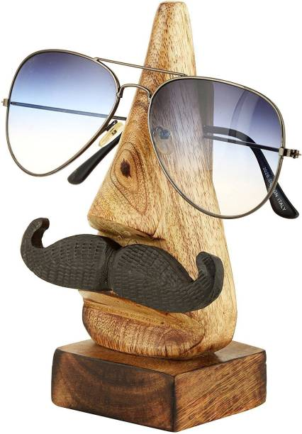 WoodCart 1 Compartments H@ndmade Wooden Spectacle Holder Sunglass Holder Moustache Desk Organizer Gifting Item Natural Skin Colour Wood Specs Holder