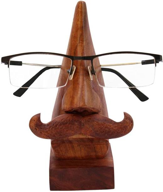 WoodCart 1 Compartments H@ndmade Wooden Nose Shaped Spectacle Specs Eyeglass Holder Stand display stand with Natural Wood Color Moustache Specs Holder