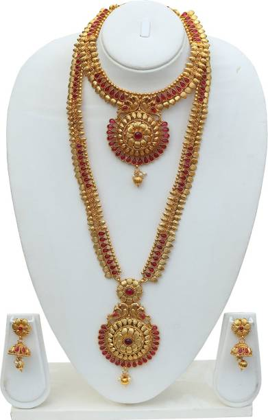 956a8c05910 Lookethnic Latest fern design necklace set Ruby Copper Plated Copper Necklace  Set