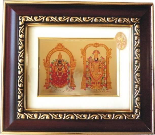 9613f9704568 GoldArt GoldFoil Photo Frame Size 2 Lord Srinivasa   Padmavati (Wooden  Framed) Religious Frame