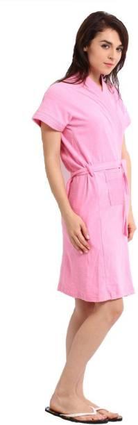 ELEVANTO Pink Free Size Bath Robe