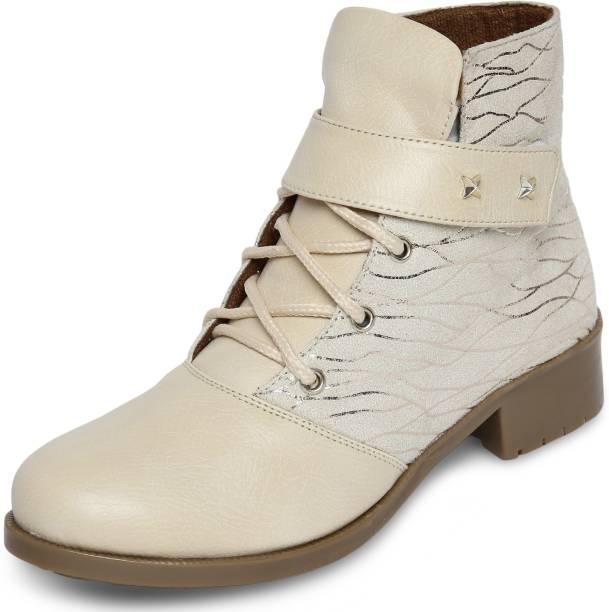 10380d2108e69 Marc Loire Marc Loire Women s Cream Printed Round Toe Velcro Casual Shoes  Boots Flats Boots For