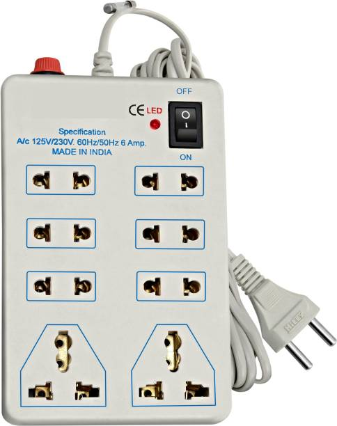 Thrive Heavy Duty 8 in 1 White Mini Strip / Power Strip / Extension Cord, with On / Off Switch & LED Indicator with 3-4m lengthy wire and Free 1 Amp. Fuse, 2 Three Pin Socket + 6 A Two Pin Socket 8  Socket Extension Boards