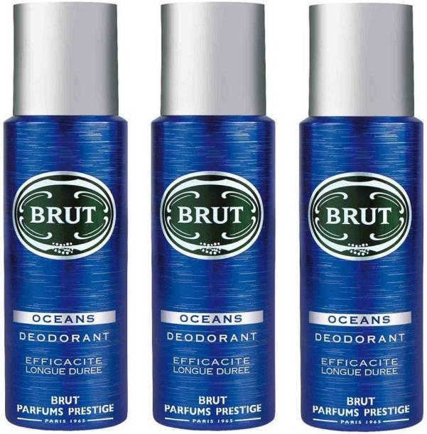 BRUT Oceans Deodorant for Men | Long Lasting & Fresh Aquatic Fragrance 3x200ml Deodorant Spray  -  For Men