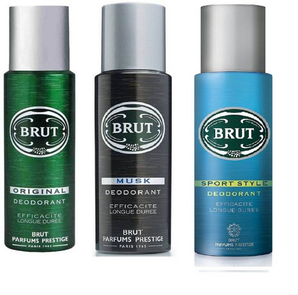 BRUT Original, Musk and Sport Style Deodorant Spray Pack of 3 Combo (200ML each) 600ML Deodorant Spray  -  For Men