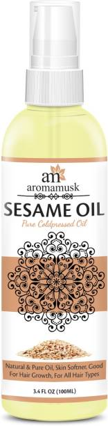 aromamusk USDA Organic 100% Pure Cold Pressed Extra Virgin Sesame Oil For Hair And Skin Hair Oil