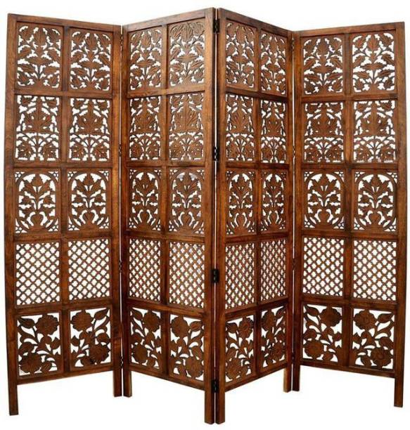 Decorhand Handcrafted 4 Panel Wooden Room Partition & Room Divider (Brown) Solid Wood Decorative Screen Partition